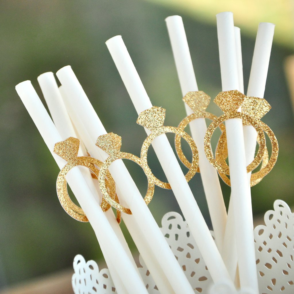 Gold Bridal Shower Supplies (QTY 10). Gold Ring and Solid White Paper Party Straws. Diamond Straws.