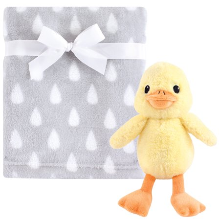Hudson Baby Boy and Girl Plush Blanket with Plush Toy Set, Yellow Duck ()