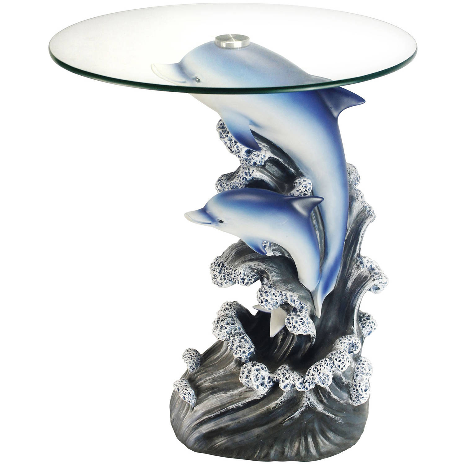 "24"" Glass Top Dolphin End Table Walmart"