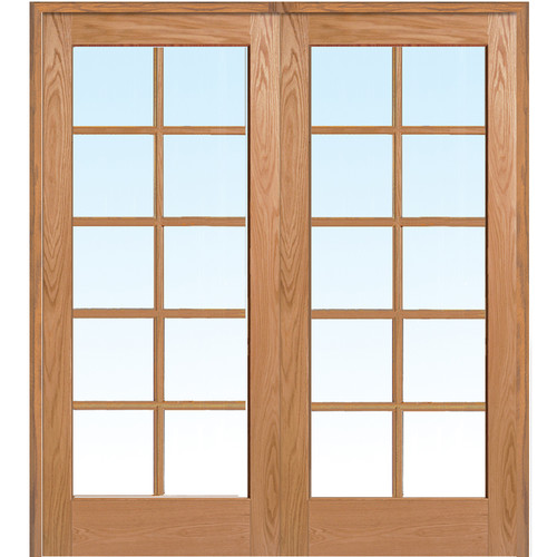 Verona Home Design Wood 2-Panel Red Oak Interior French Door