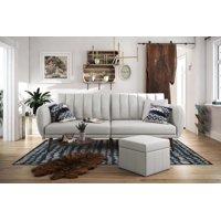 Novogratz Brittany Linen Sofa Bed, Multiple Colors - Gray