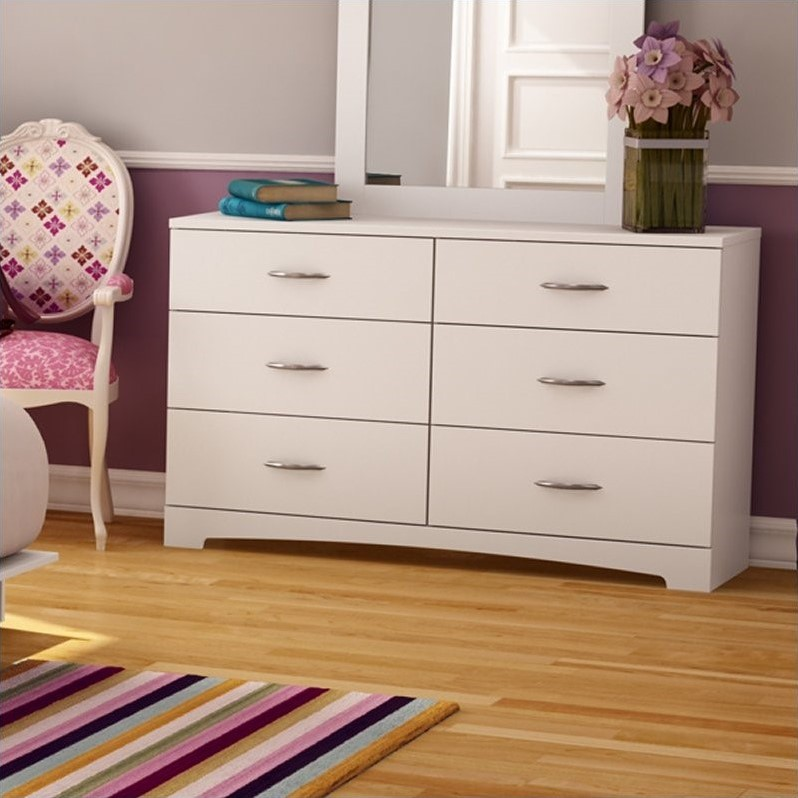 South Shore Maddox 6 Drawer Double Dresser in Pure White Finish