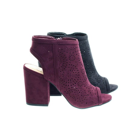 Parking by Delicious, Perforated Chunky Block Heel Sandal Bootie w Sling Back & Peep Toe