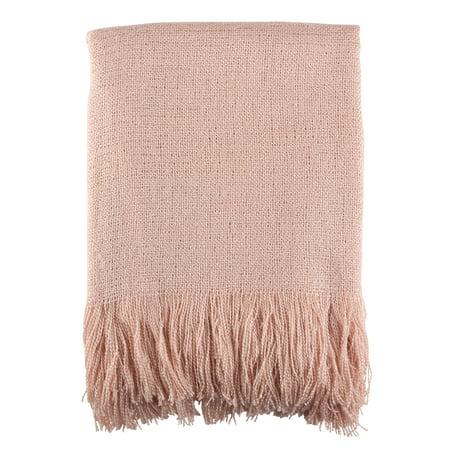 "Pink Fringe Hem Throw Blankets (50""x60"") - Saro Lifestyle"