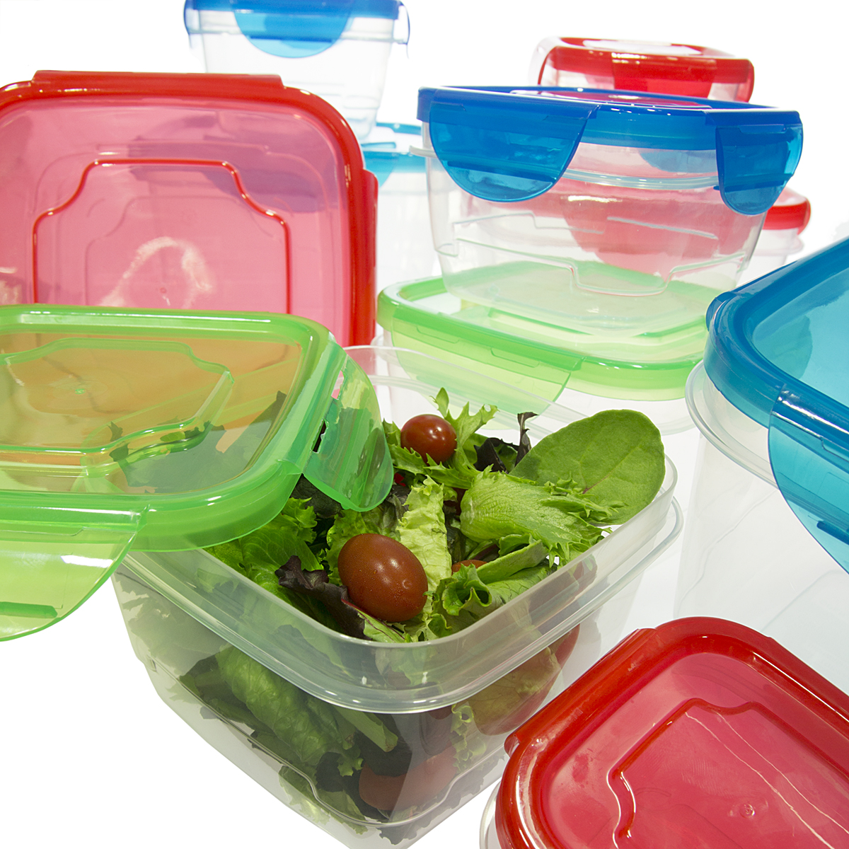 20 Piece Set Food Storage Container With Airtight Snap Locking Lids Square Plastic Nesting BPA Free by
