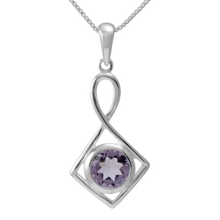 - Handmade Sterling Silver Round Shaped Natural Cut Amethyst Necklace (Thailand)