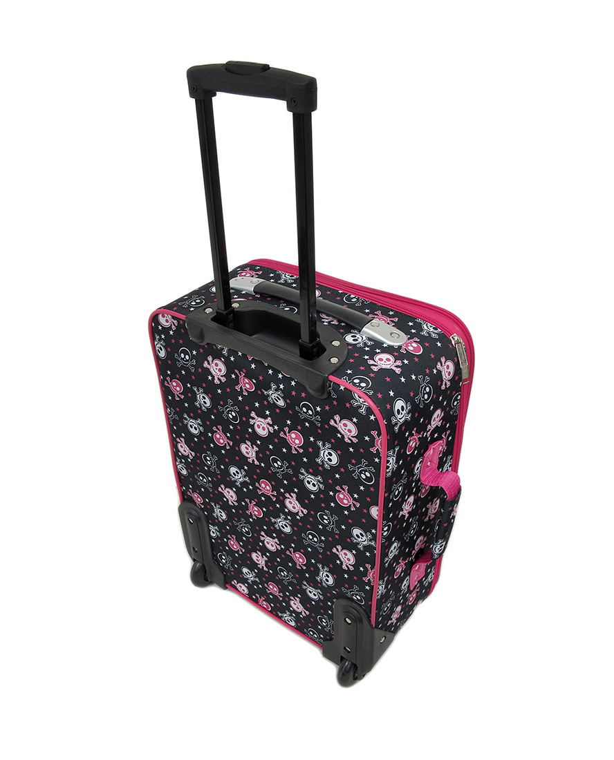 3 Piece Black/White/Pink Skull and Crossbones Rolling Suitcase ...