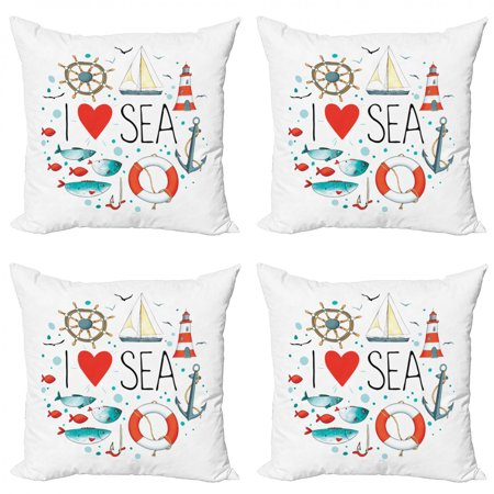 Nautical Throw Pillow Cushion Case Pack of 4, I Love Sea Words Heart Materials Anchor Compass Knotted Rope, Modern Accent Double-Sided Print, 4 Sizes, White Red Blue, by Ambesonne