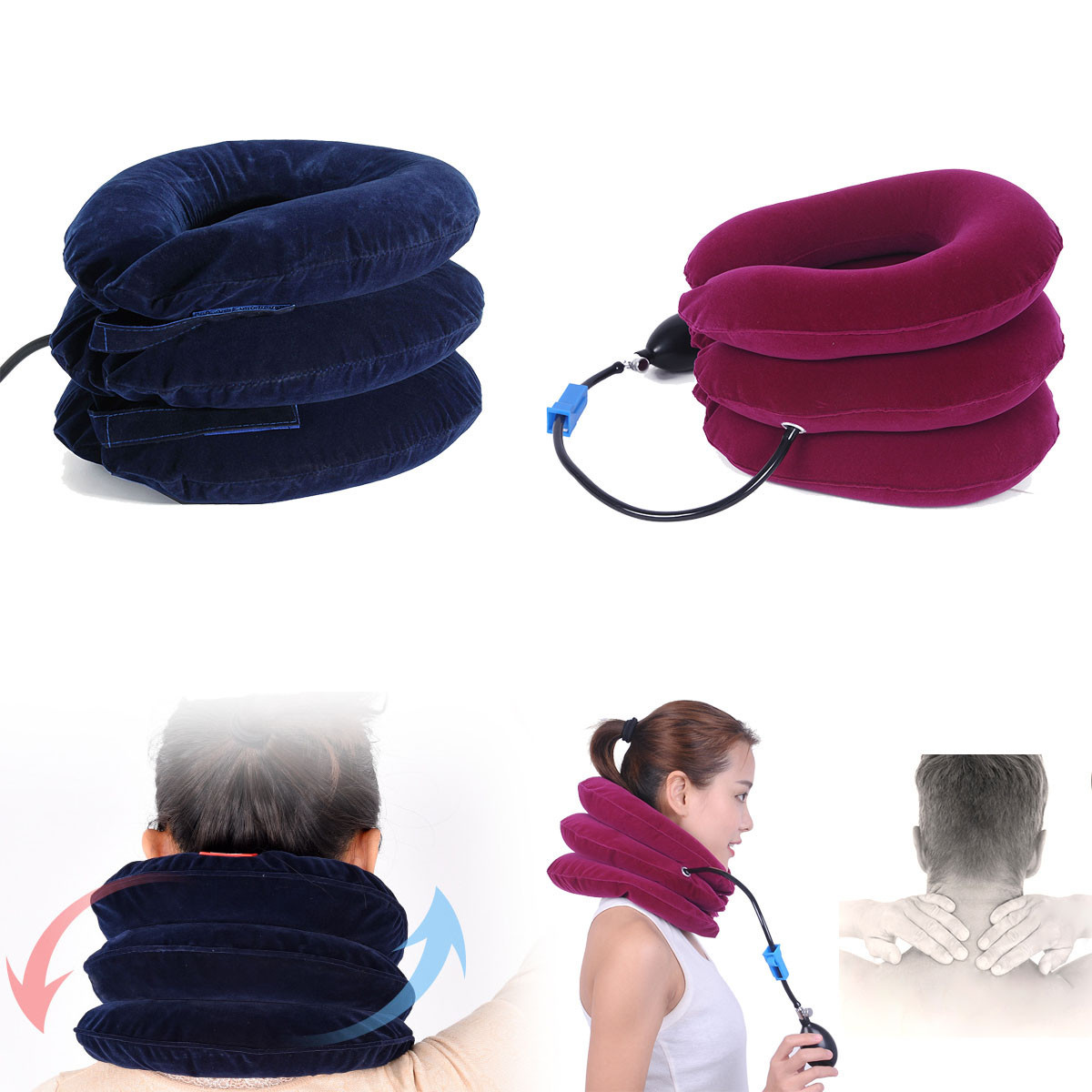 Air Inflatable U-shape Pillow Cervical Neck Head Pain Traction Support Brace Device For Back Head & Shoulder Stress Relief