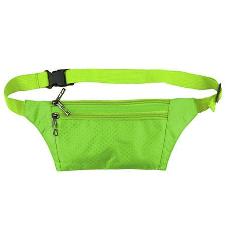 Unisex Three Zipper Pockets Argyle Design Waist Bag Green