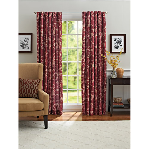 Better Homes and Gardens Red Scroll Lined Window Panel
