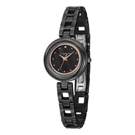 Stuhrling Original  Women's Le Petit Swiss Quartz Austrian Crystal Ceramic Bracelet Watch (Pepe Le Pew Watch)