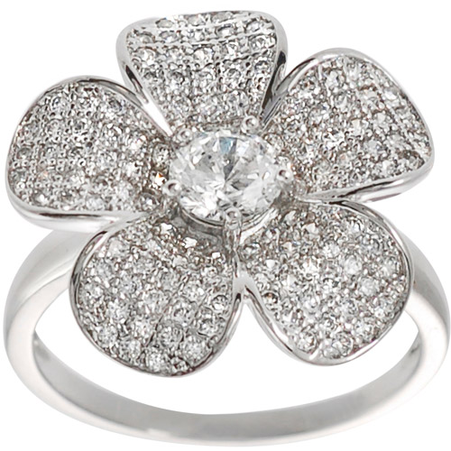 Brinley Co. CZ Solitaire Sterling Silver Flower Ring
