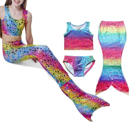 3PCS Baby Kids Girl Tankini Set Swimwear Swimsuit Swimming Mermaid Tail With Monofin Swimming Costumes Swimmable (Cheap Mermaid Tails For Girls To Swim In)