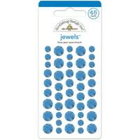 Doodlebug Adhesive Jewels 6mm, 8mm & 10mm 45/Pkg-Blue Jean