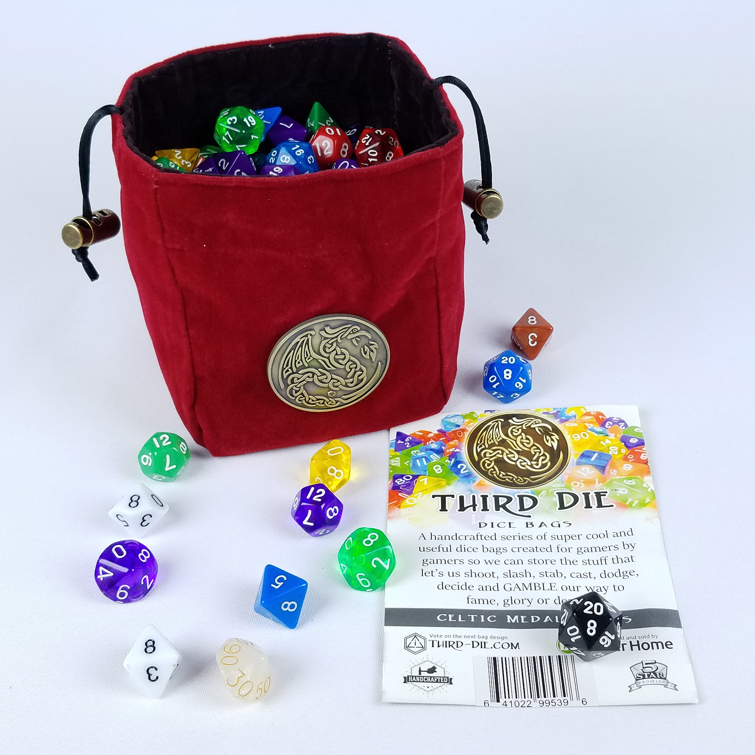 Brilliant Third Die Dice Bag Celtic Medal Series Handcrafted Reversible Dice Bag Stands Open On The Table And Closes Tight Soft Microfiber With Celtic Bralicious Painted Fabric Chair Ideas Braliciousco