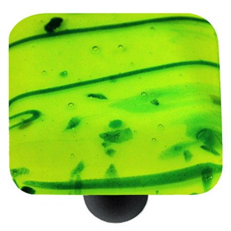 Hot Knobs HK3112-KB Mardi Gras Green with Spring Green Square Glass Cabinet Knob - Black (Hot Knobs Handcrafted Spring)