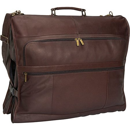 c82d5949665f 42 in. Long Leather Garment Bag w 3 Exterior Pockets (Cafe)