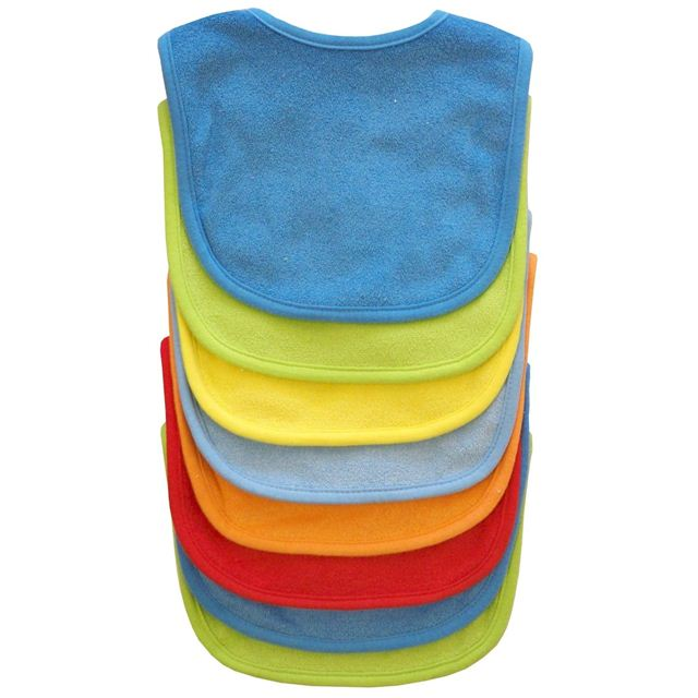 Neat Solutions 8 Pack Multi-Color Solid Knit Terry Feeder Bib - Boy