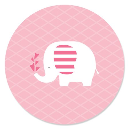 Pink Elephant - Girl Baby Shower or Birthday Party Circle Sticker Labels - 24 - Baby Girl Birthday