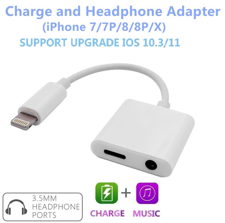 iPhone 8 Adapter Lightning Adapter Headphone Jack For 3.5mm Headphone Audio Adapter 2A Quick Charge Earphones Splitter - Compatible With IOS 11
