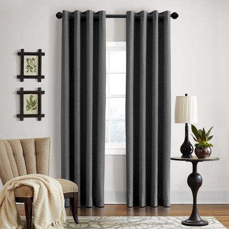 Grand Luxe  Linen Gotham Dark Grey Grommet Curtain Panel (Linen Loupe)