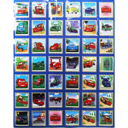 Disney Pixar's Cars Lightning McQueen and Others Postage Stamp Stickers (42 - Disney Car Stickers