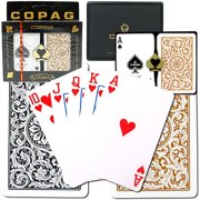 Trademark Poker 2pk Copag 1546 Design Regular index Card Deck, Gold/Black