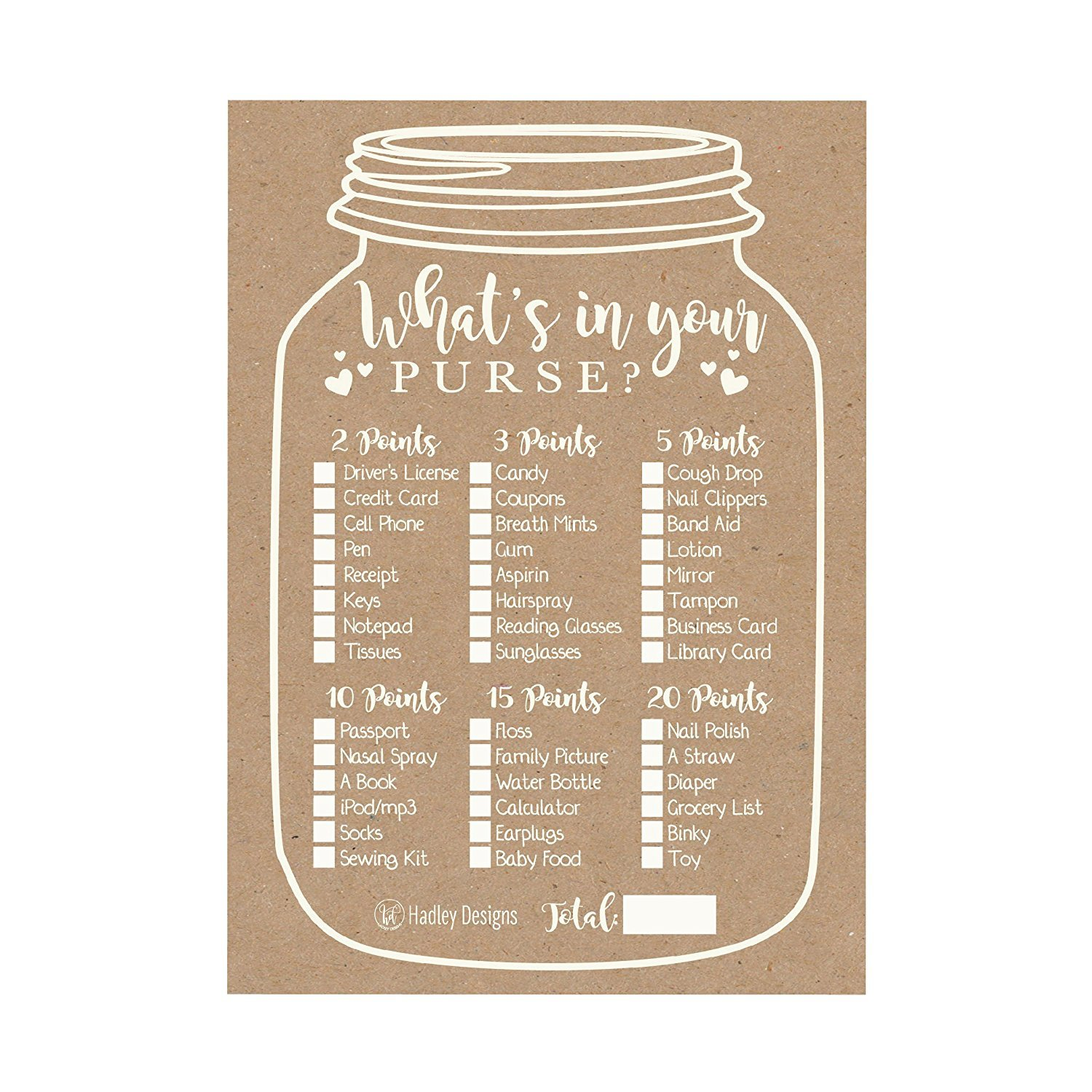 25 Kraft Rustic What S In Your Purse Baby Shower Game Funny Ideas