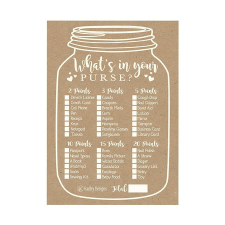 25 Kraft Rustic What's In Your Purse Baby Shower Game, Funny Ideas Coed Couples Game For Baby Party, Fun Woodland Themed Bundle Pack of Cards To Play at Boy or Girl Gender Decoration and (Decoration Ideas For A Ballerina Themed Baby Shower)