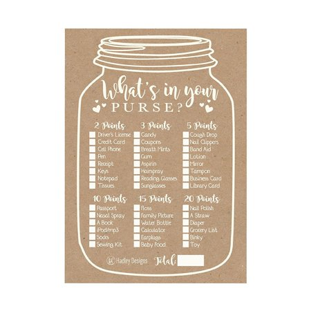 25 Kraft Rustic What's In Your Purse Baby Shower Game, Funny Ideas Coed Couples Game For Baby Party, Fun Woodland Themed Bundle Pack of Cards To Play at Boy or - Teenage Halloween Party Games Ideas