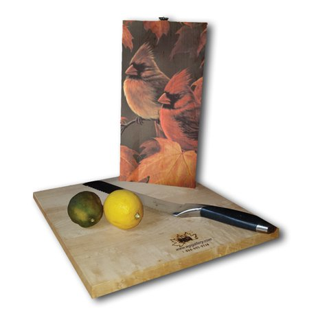 WGI Gallery  Maple Leaves and Cardinals White Birch Plywood Cutting Board 6 inches high x 12 inches (Maple Plywood)