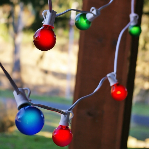 Outdoor String Lights Globe String Lights 1.5 Inch E12 Bulbs 100 Foot White Wire C7 Strand Multi Color by LSD