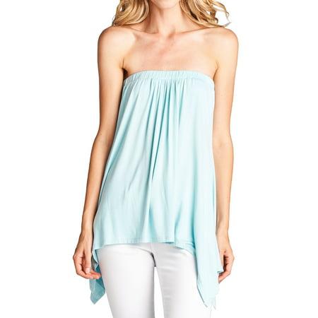 36b903193 Loving People Handkerchief Asymmetrical Hem Tube Top Flared Loose Fit  Strapless Tunic Shirt, Azure, Large