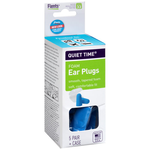 Flents Quiet Time Foam Ear Plugs with Case, NRR 33, 5 pr
