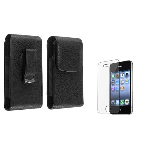 Insten Magnetic Flap Black Clip Leather Pouch Case+Screen Shield For Apple iPhone 4 4th 4G 4S