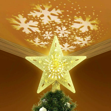 Christmas Tree Topper Lighted Star Tree Toppers with LED Rotating Snowflake Projector Lights, 3D Hollow Gold Star Snow Tree Topper for Christmas Tree Decorations ()