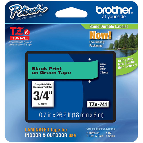 Brother TZe741 18mm Laminated Tape, Black on Green