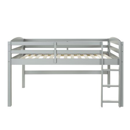 Manor Park Solid Wood Junior Twin Low Loft Bed - Grey