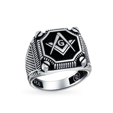 Mens Black Onyx Gemstone Inlay Compass Freemason Masonic Signet Ring For Men Solid Oxidized 925 Silver Made In Turkey