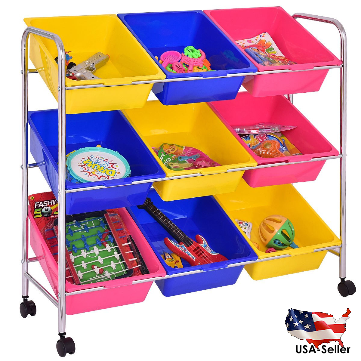 Kids Toys Accessories Bin Cart Rack Organizer Children Book Storage Box Playroom Bedroom Shelf Drawer
