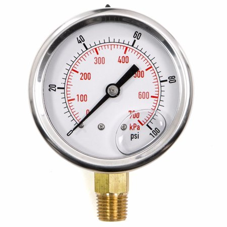 Pool Spa Filter Water Pressure Gauge 0-100 PSI Side Mount 1/4