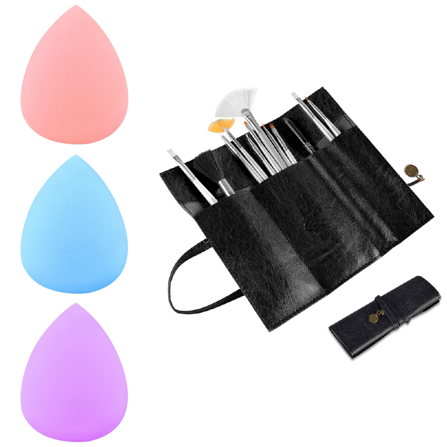Zodaca Black Retro Roll Up Leather Make up Cosmetic Pencil Case Bag+3x Sponge Blender Flawless Droplets