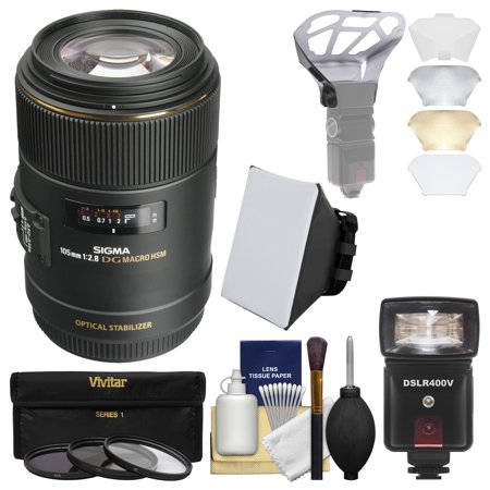 Sigma 105mm f/2.8 EX DG OS HSM Macro Lens with 3 Filters + Flash + Soft Box + Diffuser Kit for Canon EOS DSLR Cameras