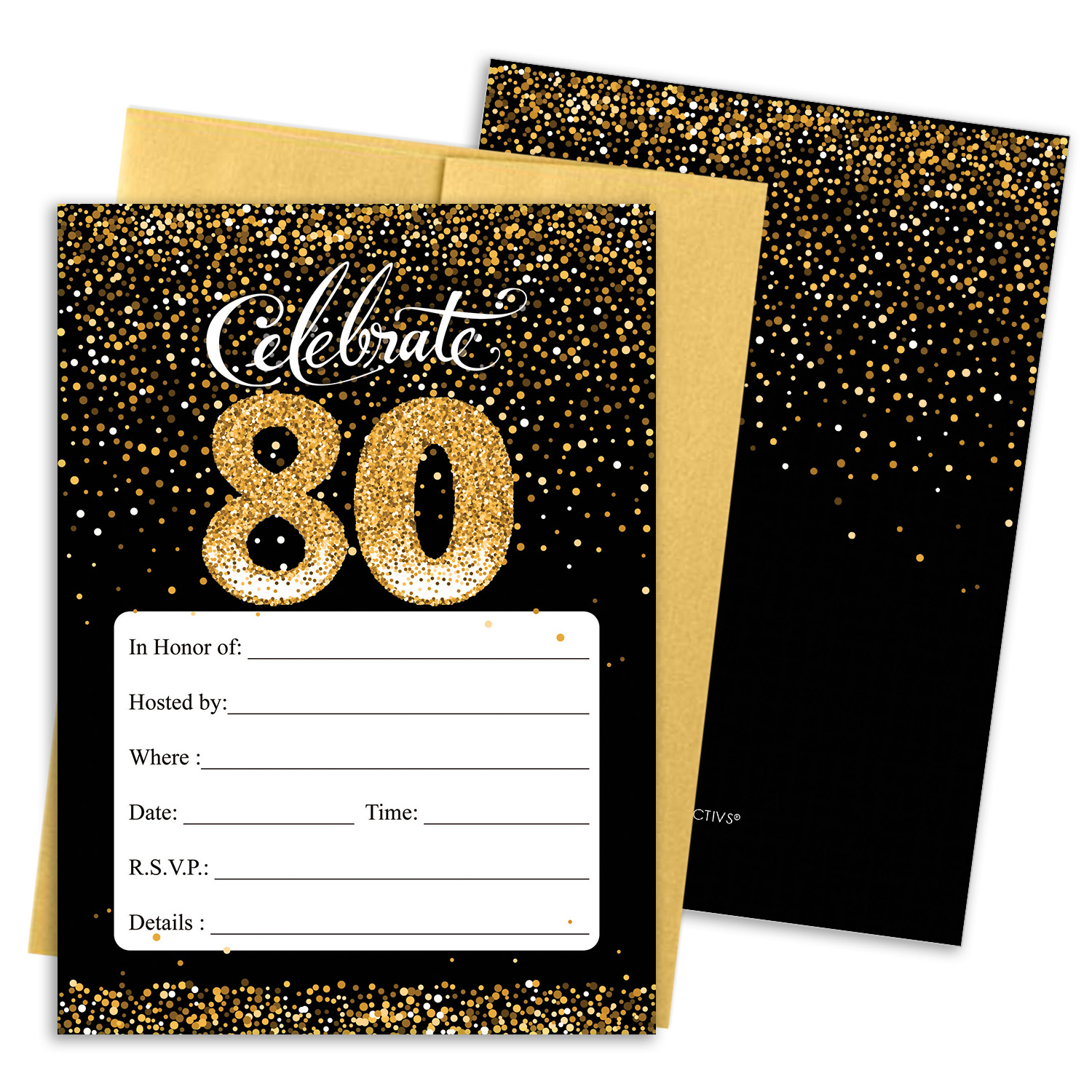 Black and Gold 80th Birthday Party Invitation Cards with Envelopes - 10  Count - Walmart.com - Walmart.com
