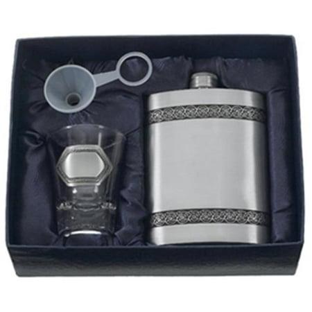 Viking Pewter Hip Flask Gift Set - 6 oz ()