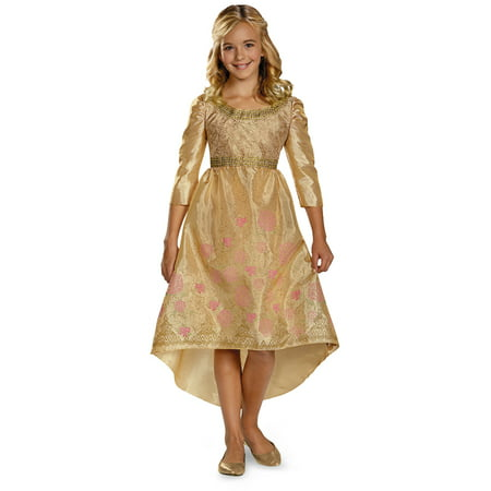Girls Gold Princess Aurora Disney Maleficent Coronation Dress Gown Costume