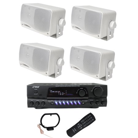 (4) PYLE PLMR24 200W Outdoor Speakers + PT260A 200W Stereo Theater Receiver)