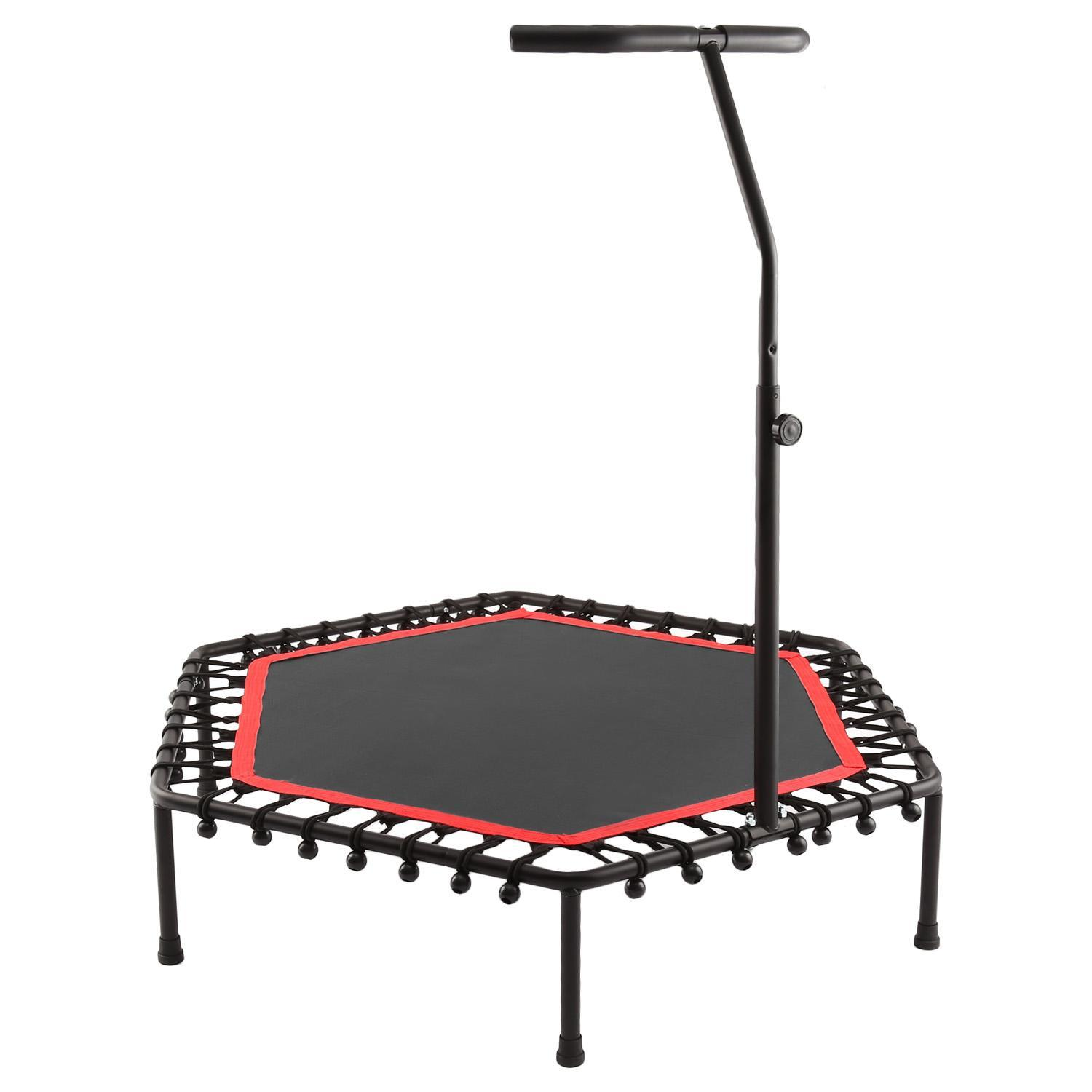 Exercise Trampoline for Kids Adults Indoor//Garden Workout Fitness Rebounder with Suction Cap Feet and Adjustable Foam Handle Kicode 50 Foldable Mini Trampoline