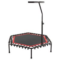 50-Inch Foldable Silent Exercise Trampoline, with Handrail, Blue,Fitness Rebounder with Adjustable Foam Handle, Exercise Trampoline for Kids Adults Indoor/Garden Workout